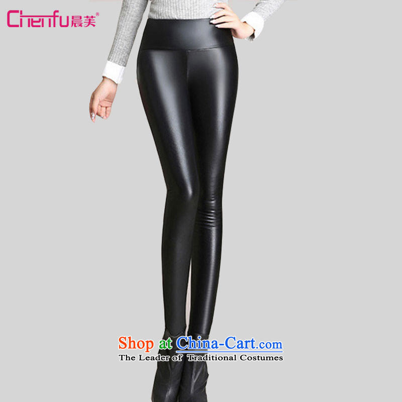 Morning to 2015 winter new Korean version of large numbers of female add PU Coated Thick Wool Pants Sleek and versatile high Waist Trousers gold-castor warm black leather pants�L爎ecommendations 130-140 catty