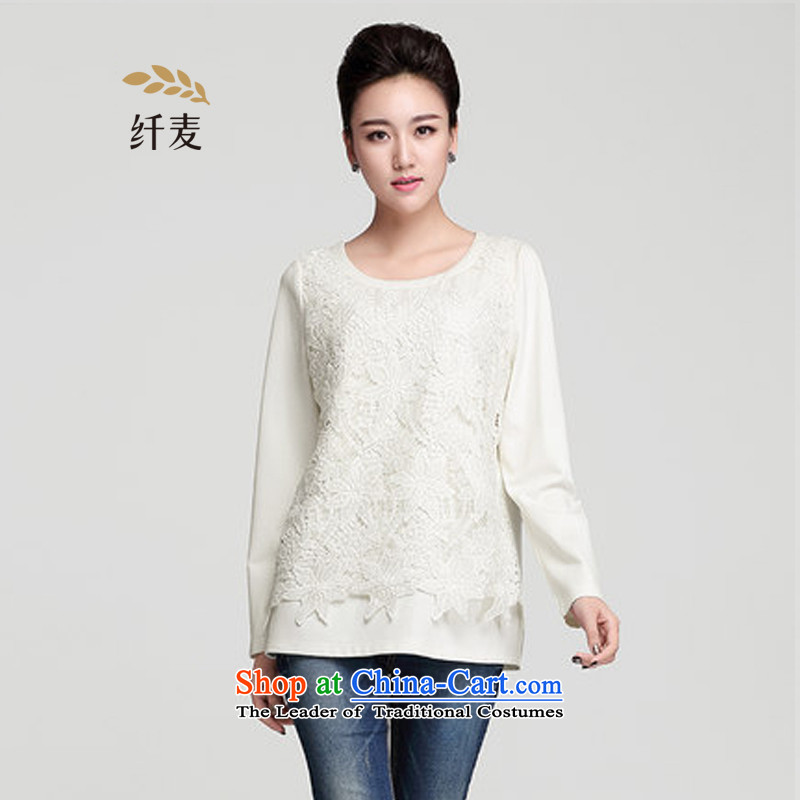 The former Yugoslavia Migdal Code women 2015 winter clothing new stylish mm thick lace stitching white T-shirt female爓hite�L 954365623