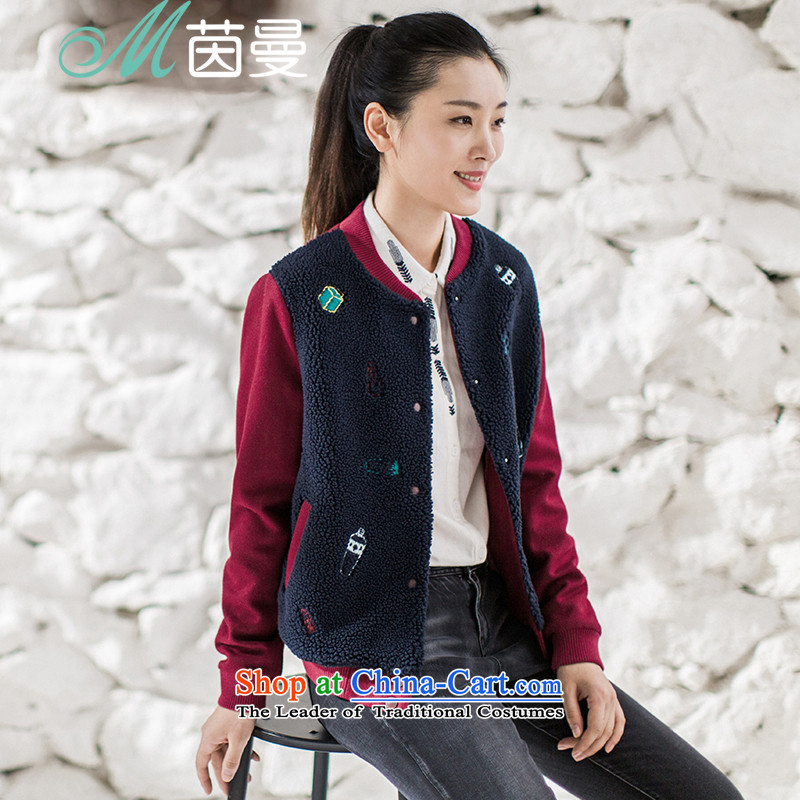 Athena Chu Cayman聽2015 winter clothing new arts knocked color Lamb Wool Velvet stitching embroidered jacket girl _8540520174?- Wine red聽M