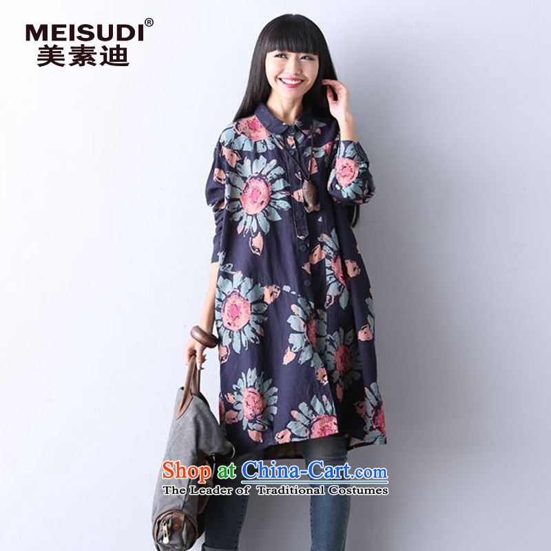 2015 Autumn and Winter Korea MEISUDI version of large numbers of ladies literary and artistic floral loose video thin thick mm in length) Cowboy Cardigan long sleeved shirt suit L