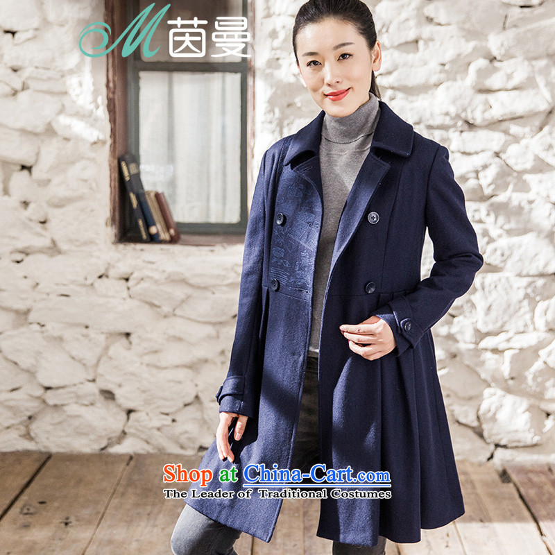 Athena Chu Cayman2015 autumn and winter new minimalist solid color embroidered Top Loin video thin coat??- 8543210320 _jacket deep blueL