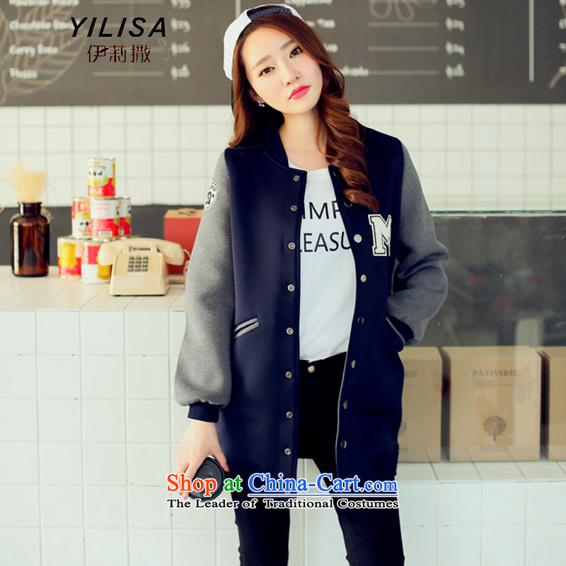 Elizabeth sub-fall new to increase women's cotton jacket is thick MM loose leisure. Long cotton letters posted the space baseball sweater jacket K381 services deep blue 4XL