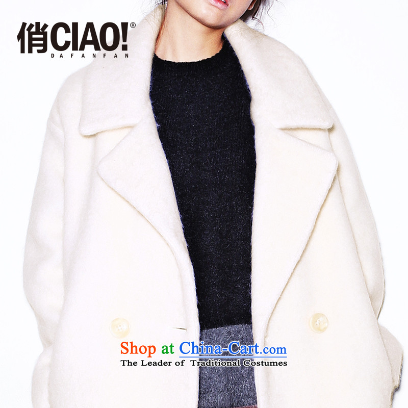 Pre-12.8CIAO_ For new women's version type cocoon double-thick, long wool a wool coat CWEWOFF002 Custom original white燬