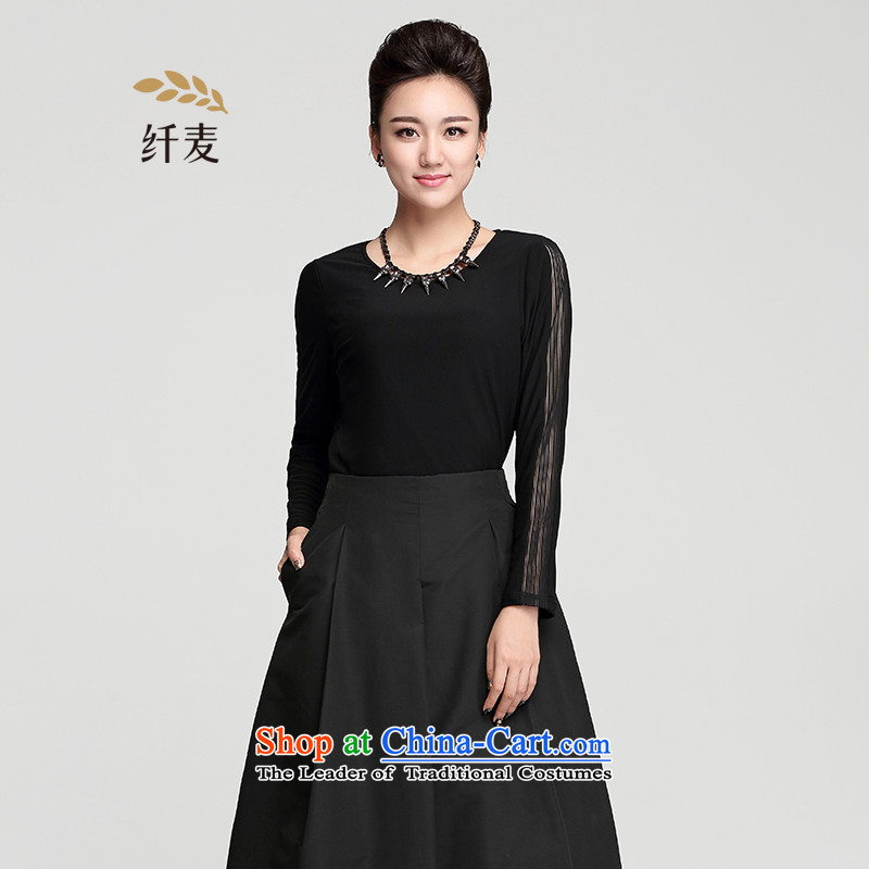 The former Yugoslavia Migdal Code women 2015 winter clothing new fat mm stylish and simple black shirt female�4365694 forming the燽lack�L