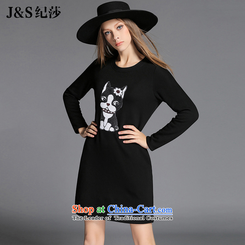 Elizabeth discipline New Europe and the 2015 to increase the number of women with thick sister winter clothing dresses long-sleeved plus Lit Slice patterns lint-free thick black?ZR2150- black?2XL