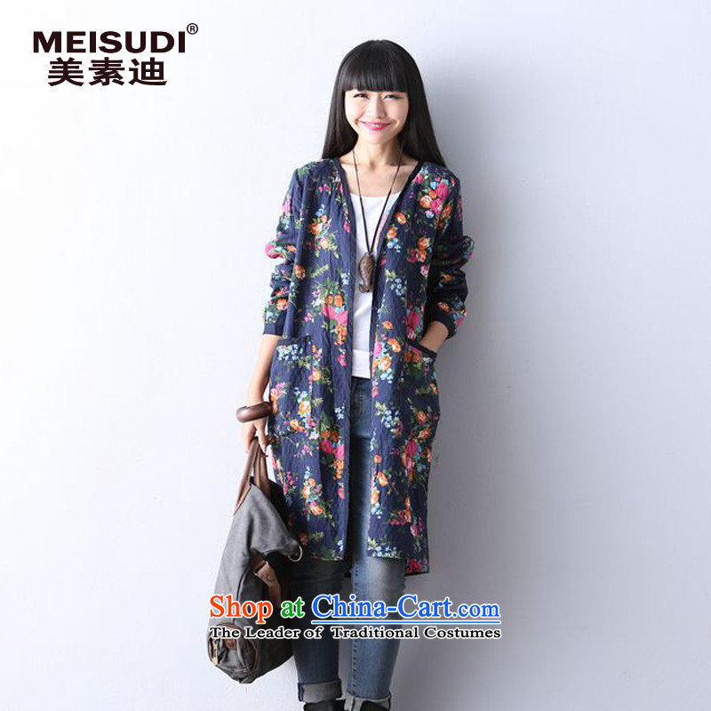 2015 Autumn and Winter Korea MEISUDI version of large numbers of ladies arts van suit in Double layered cotton long cardigan loose video thin wind jacket blue safflower燲L