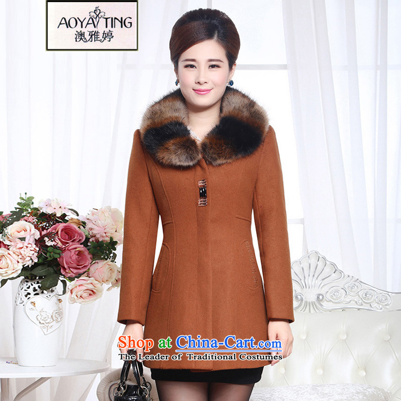 O Ya-ting to increase women's code 2015 winter clothing in older mother who led this decorated gross coats female emulation cashmere sweater gross fox 125 yellow earth燲XL