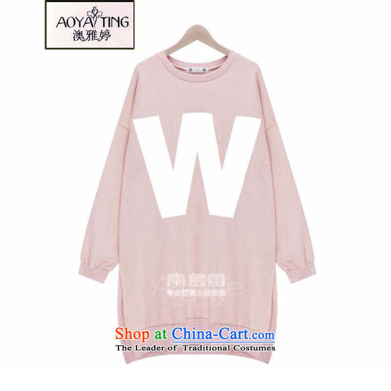 O Ya-ting to increase women's code 2015 autumn and winter new mm thick and long, thin graphics letter sweater girl long-sleeved skirt 77 16 PINK3XL 145-165 recommends that you Jin
