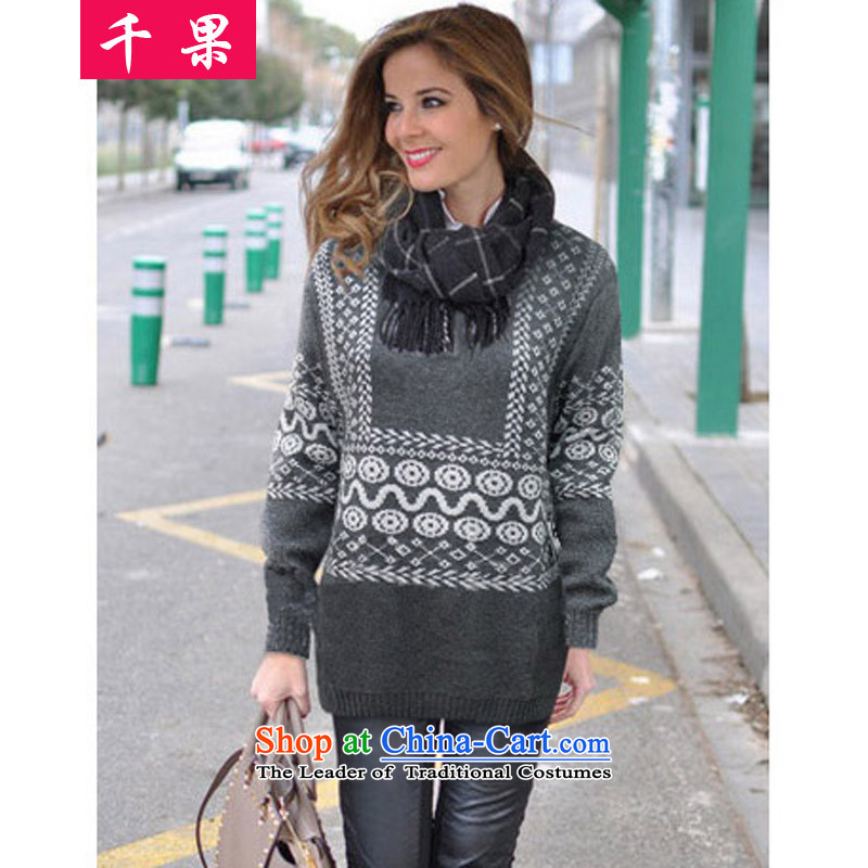 Thousands of fat xl coga female new 2015 Korean woolen pullover loose clothes in the autumn of thick mm long thick video thin gray聽5XL 5233 Knitted Shirt