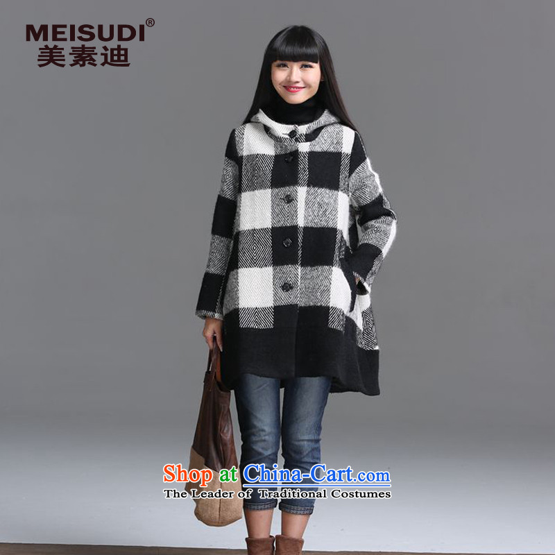 2015 Autumn and Winter Korea MEISUDI version of large numbers of ladies arts in a compartment fan long a wool coat loose video thin hair? checkered jacket XXL