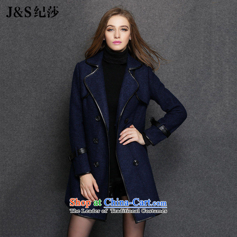 Elizabeth 2015 Western style and discipline for larger female thick sister winter clothing to increase gross female spell leather jacket is thick temperament female ZR1551-聽5XL Royal Blue