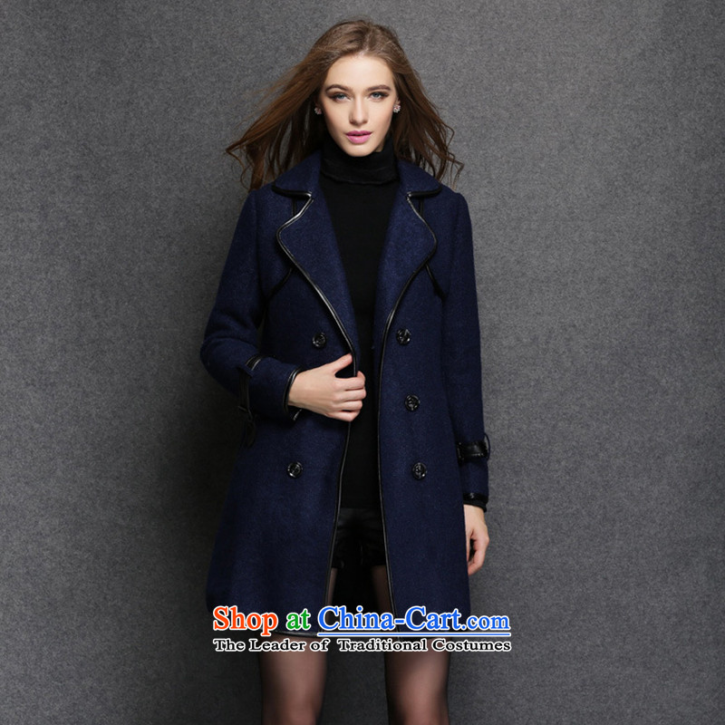 Elizabeth 2015 Western style and discipline for larger female thick sister winter clothing to increase gross female spell leather jacket is thick temperament female聽ZR1551- BLUE聽5XL, discipline Windsor shopping on the Internet has been pressed.