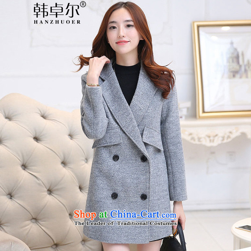 Korea's 2015 new autumn and winter in long hair?   Korean version of a wool coat female jackets ZA1233 GRAY M