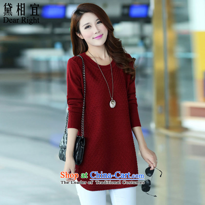 Doi affordable�15 autumn and winter new 200 catties to increase the number of thick sister mm Sleek and versatile graphics thin, forming the knitwear sweater�L_ wine red t-shirt recommendations 170-200 catties_