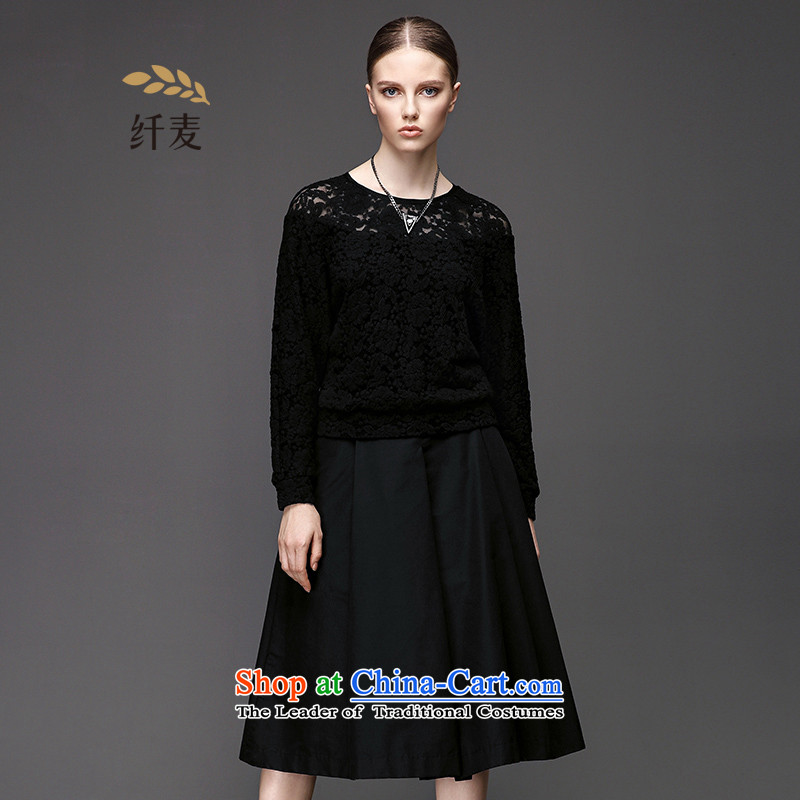 Black Small Migdal pre-sale code women 2015 winter clothing new stylish mm thick bat sleeves lace stitching T-shirt 961365252 female black pre-sale�L
