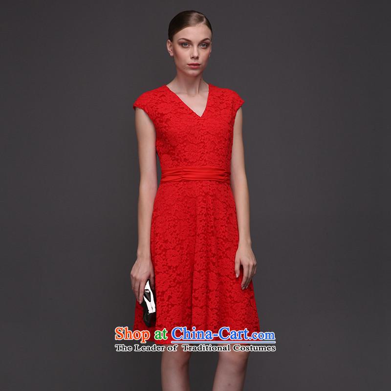 The former Yugoslavia Migdal Code women 2015 winter clothing new fat mm stylish black lace larger dresses femalered6XL 961104254