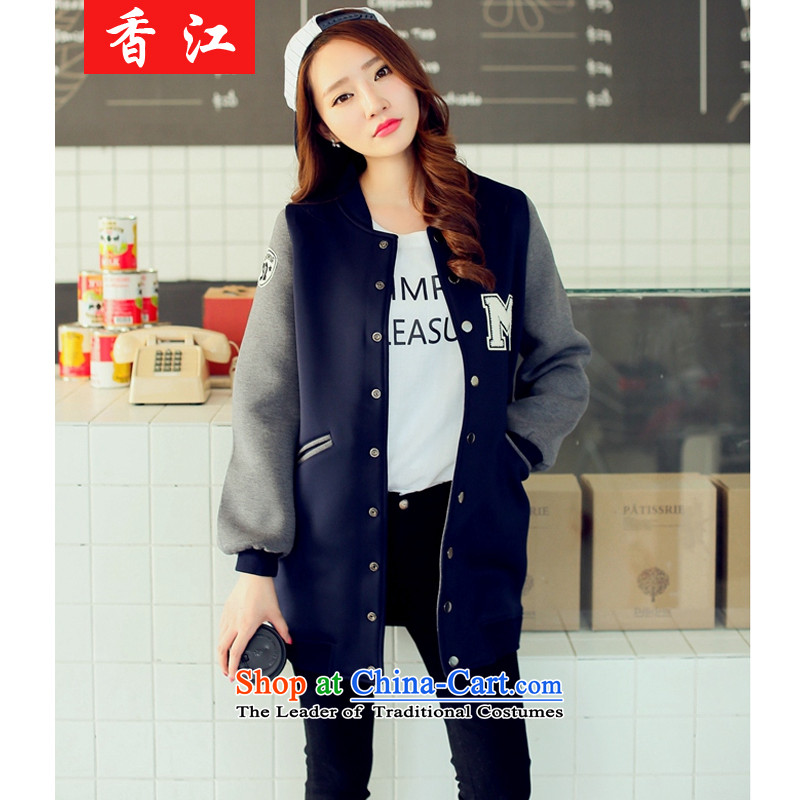 Xiang Jiang�15 Korean version of large numbers of ladies Fall_Winter Collections baseball uniform female jacket thick mm loose video thin coat in the sister of thick cardigan�1燿ark blue燲XXXL