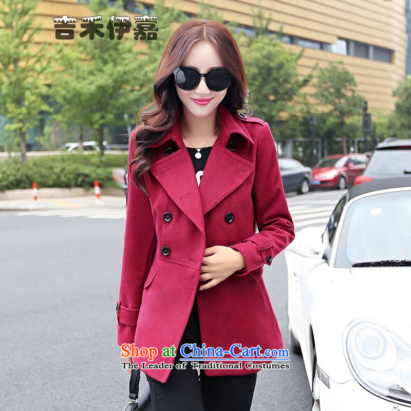 Gil Wo Ika 2015 winter new gross? 20 30-year-old girl jacket woolen coats that long, and larger Connie sub-jacket, wine red�L