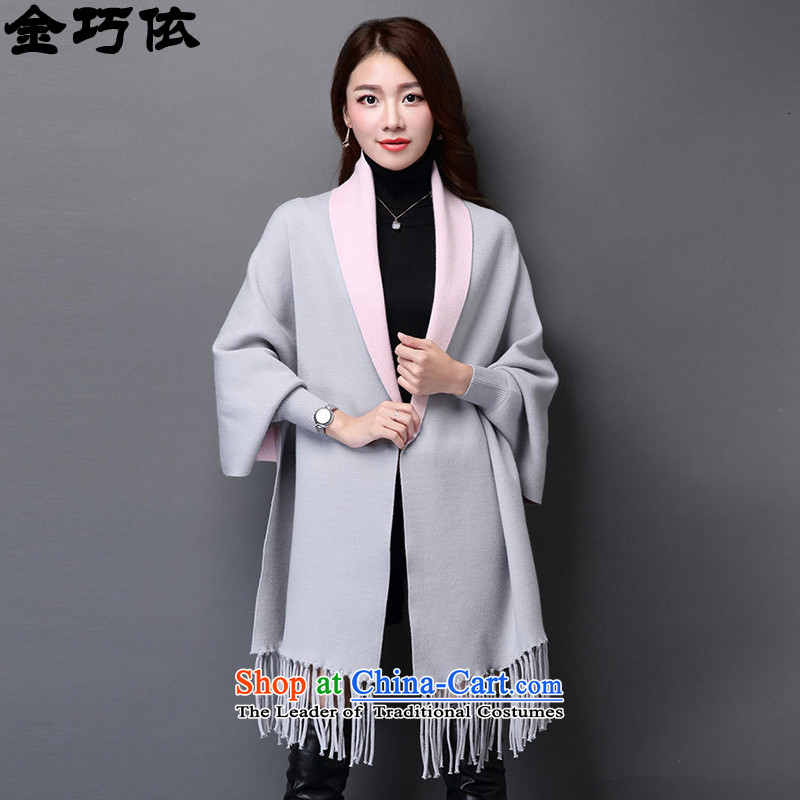 In accordance with the form 2015 gold Autumn and winter coats gross new two-sided female stingrays? lint-free flow Su-jacket in Fancy Scarf long knitted cardigans 188 gray are code