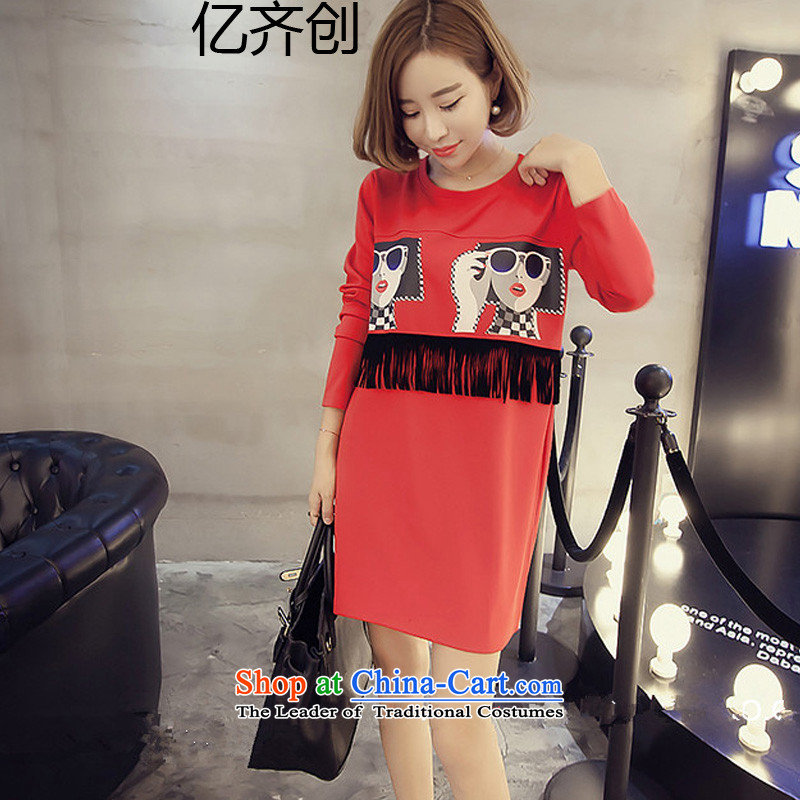 Billion gymnastics 2015 autumn and winter new Korean version of large numbers of ladies edging dress in long loose long-sleeved T-shirt with round collar  D6819 Black XL, billion gymnastics shopping on the Internet has been pressed.