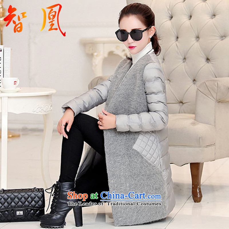 Leong for coats jacket women gross?�15 autumn and winter new stylish girl in Europe and the temperament of coat is long jacket Sau San Tiao thin coat of video-gray stitching stingrays lint-free燣