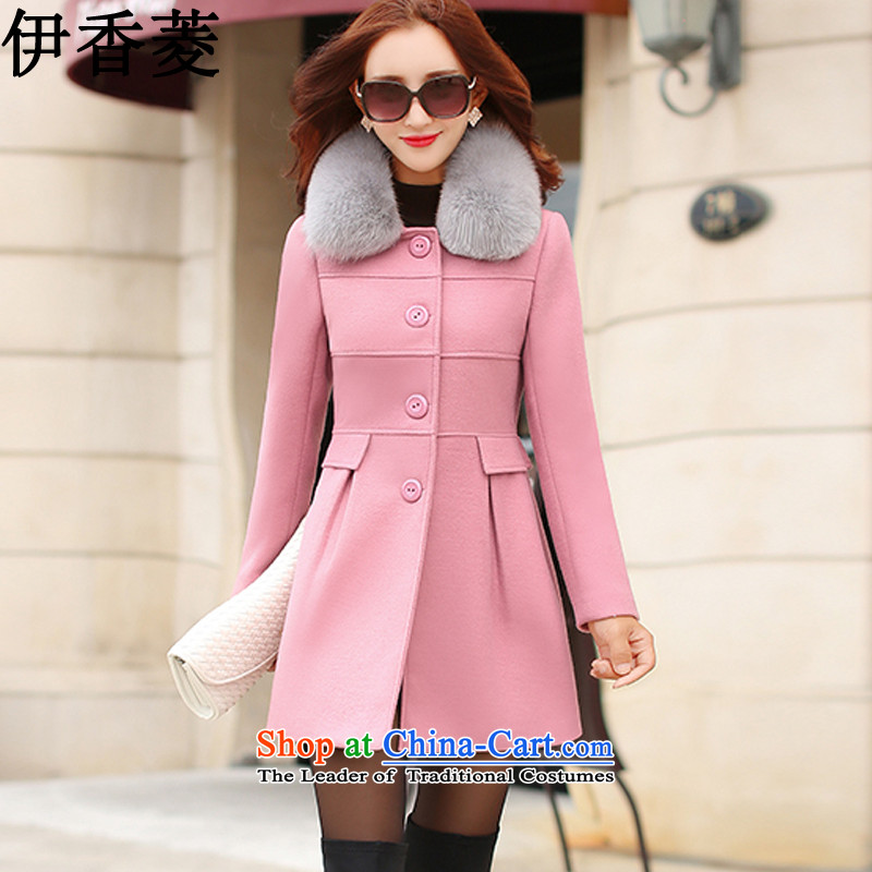 Ikago Ling 2015 autumn and winter new Korean Sau San video thin stylish wild in the long coats female燳8093 gross?燩ierre pink燤