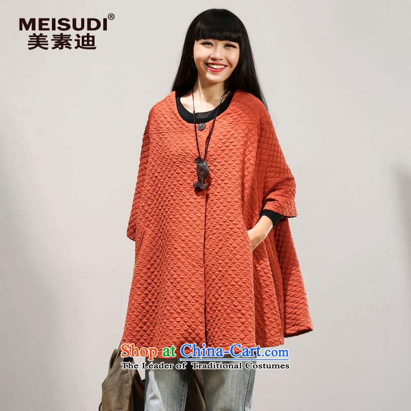 2015 Autumn and Winter Korea MEISUDI version of large numbers of ladies personality temperament wild loose bat sleeves video in thin long cardigan jacket orange are code _loose_