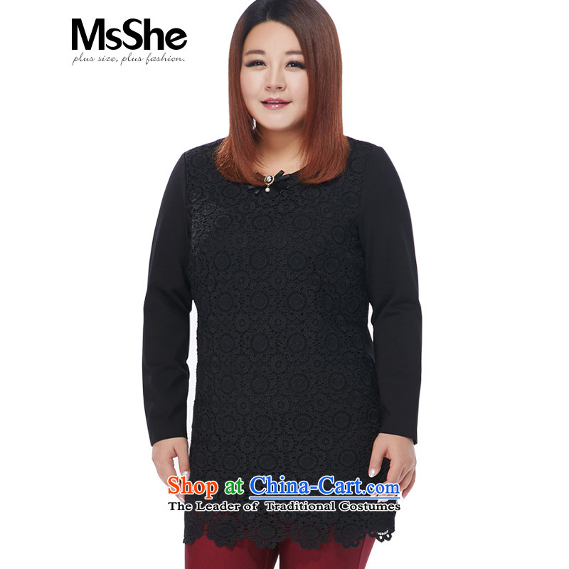 Large msshe women 2015 new winter clothing thick MM black velvet lace, forming the basis of the establishment of the Netherlands 10910 thick black2XL