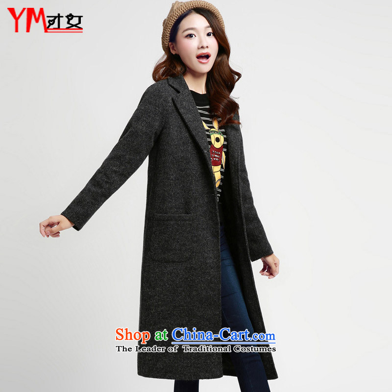 Omi only female autumn and winter female gross jacket coat girl Won? Edition long winter 2015 new women's winter coats on what new black and gray燣