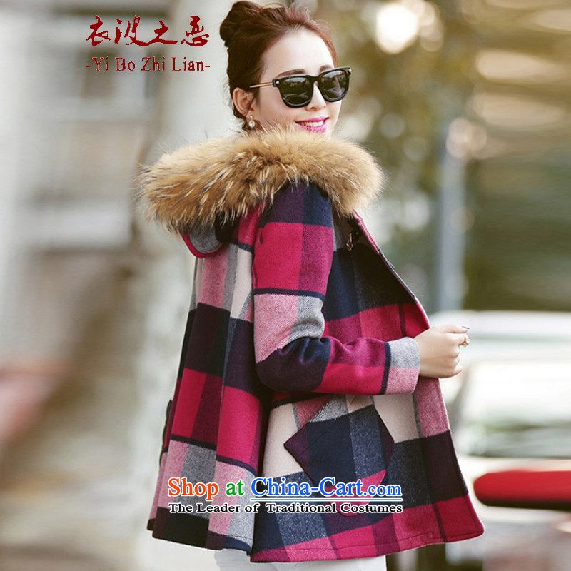 Yi love wave 2015 Fall_Winter Collections new Korean Gross Gross Sau San for coat? latticed gross girls jacket? Long?9211 on?suit?XL