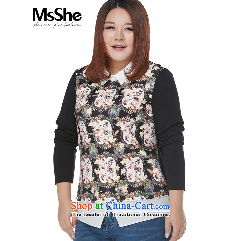 Msshe xl women 2015 new winter clothing thick MM Sau San stitching lace nail pearl 11108 black powder coat5XL flower