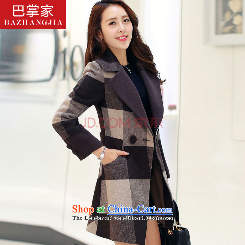 The Autumn 2015 a slap new Korean girl who decorated stylish large grid coats gross?? sub-coats jacket coffee-colored grid M