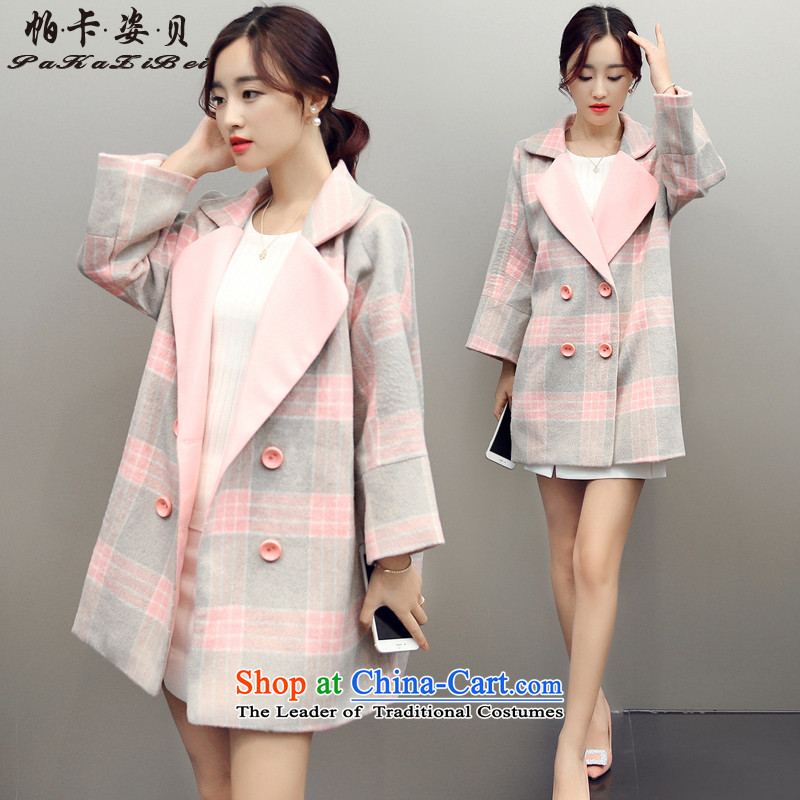 Pacar Gigi Lai Addis Ababa for winter 2015 new liberal temperament suits for Korean version? coats that long loose hair? female new toner Gray Tartan coats L