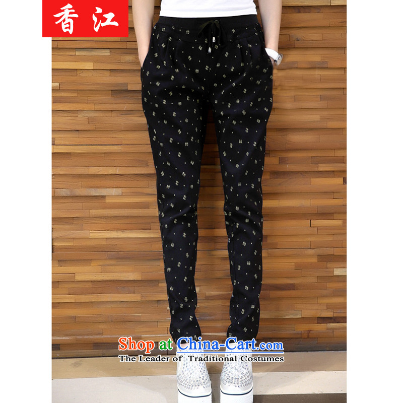 Xiang Jiang autumn and winter, to intensify the code, forming the trousers thick MM outside expertise through sister autumn the lint-free thick loose video thin casual pants warm winter female trousers386Black Large 5XL code