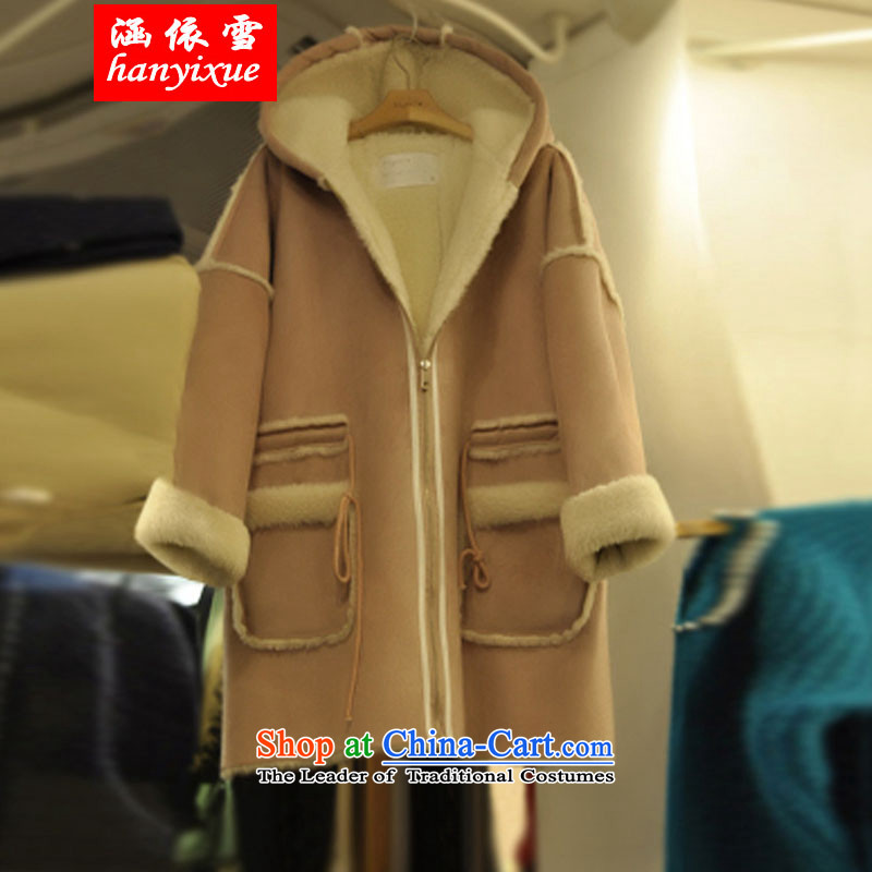 In accordance with the snow covered by the Fertilizer xl female thick sister robe graphics thin Korean cotton coat thickness jacket coat thick mm new light brown燲XXL