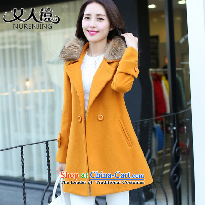 Women聽2015 winter mirror the new Korean version of large numbers in length of Sau San for coats _L9826? ore WONG聽XXL
