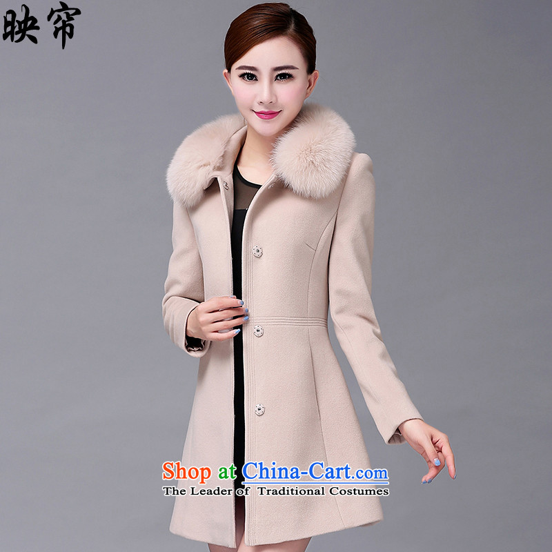 Image of the autumn and winter 2015 curtain New Women Korean fashion in the thin long graphics Sau San gross y1395_ coats m White? XL