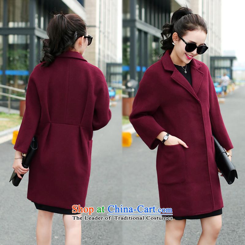 Sin has爊ew winter 2015 stylish look of Sau San Korean minimalist Solid Color Warm Korean round-neck collar gross? coats female wine red燤