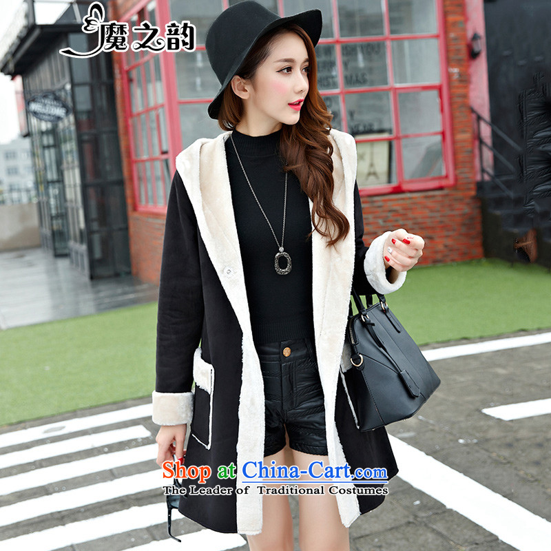 The magic of the autumn and winter load to xl female jacket coat female waveâ gross? Yi in long thick, Hin thin blackXXXXL 83807)