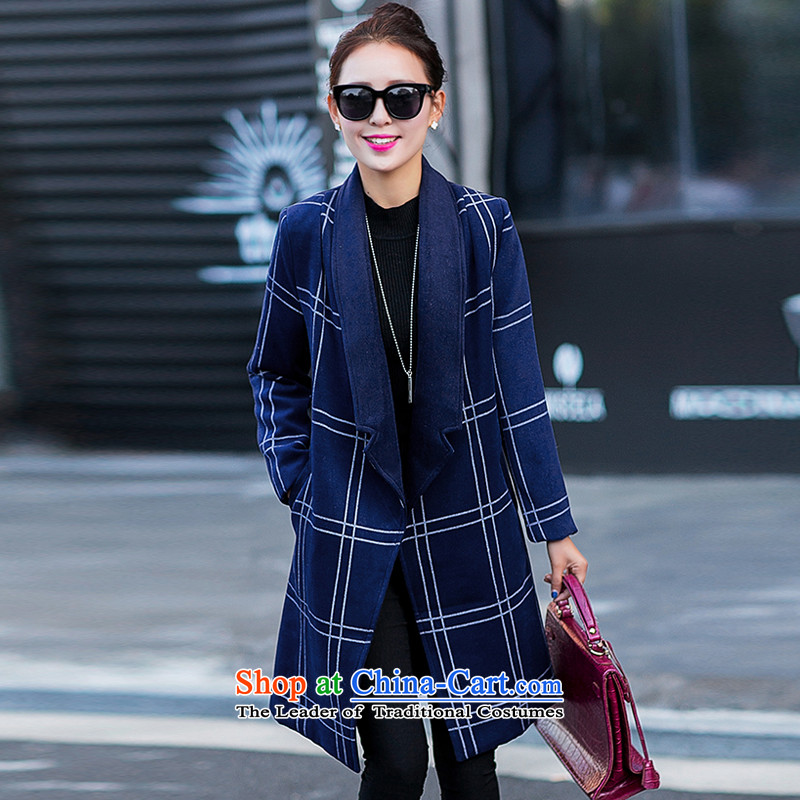 Yi, e reverse collar tartan sub-coats blue GD6878 XXL