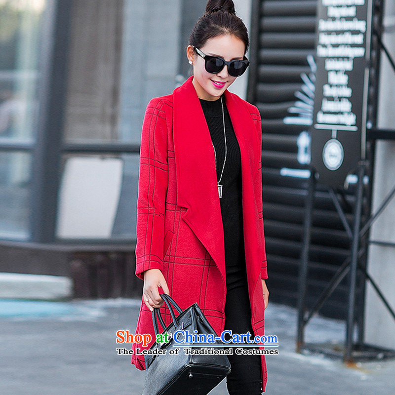 Yi, e reverse collar tartan sub-coats red GD6878 L
