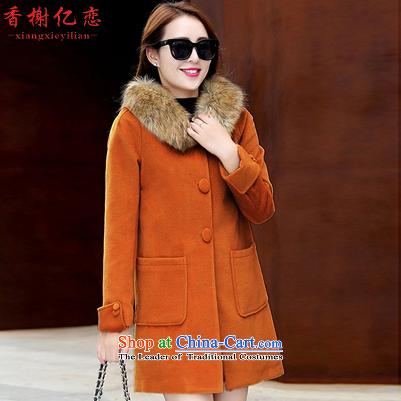 Champs billion Land 2015 autumn and winter coats gross new women's? removable gross for long Korean young female coats loose hair and Kim HoL D908
