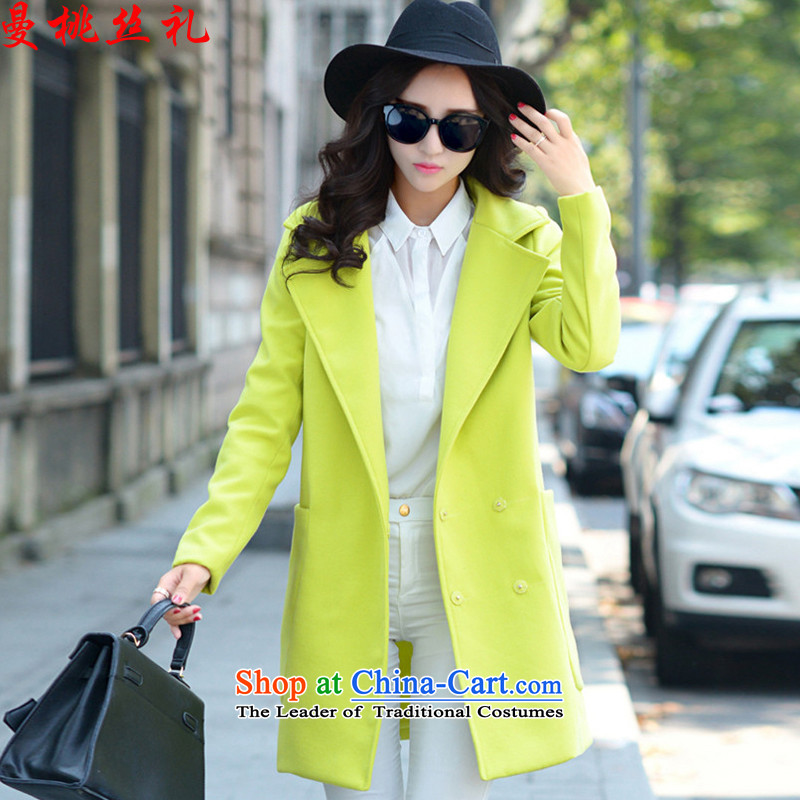 Cayman commercial silk ceremony? jacket female 2015 gross autumn and winter coats pockets in gross? long time foutune suits for pure color during the spring and autumn a wool coat RADIANTCOLOR M
