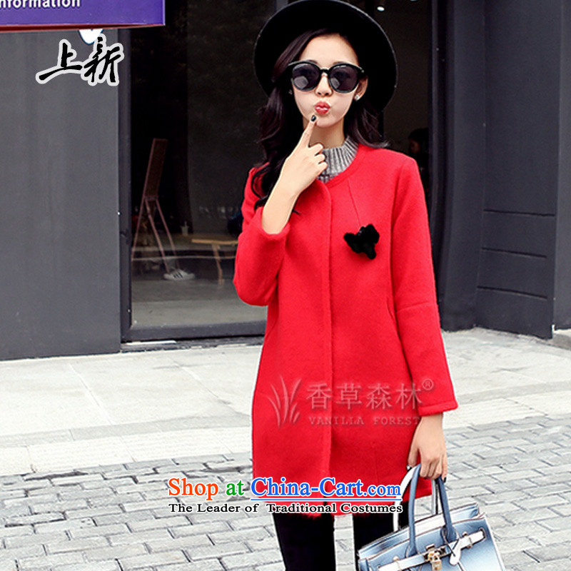 On the new 2015 autumn and winter Ms. new gross? jacket stylish and simple urban oasis in the long round-neck collar 9 Cuff HM-8853 coats RED燤?