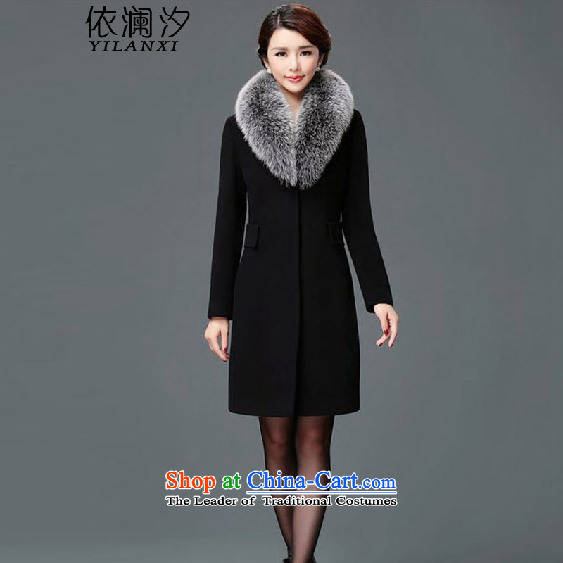 In accordance with the World聽New Winter 2015 Hsichih new cashmere overcoat genuine long jacket, black 6657聽XXL