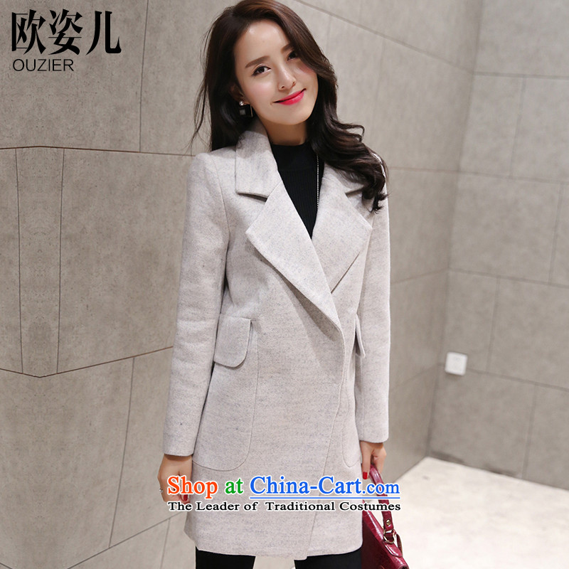 Gigi Lai Yee 2015 gross Europe? Long girls jacket fall inside the new Korean version of winter clothing Sau San temperament a wool coat White XXL