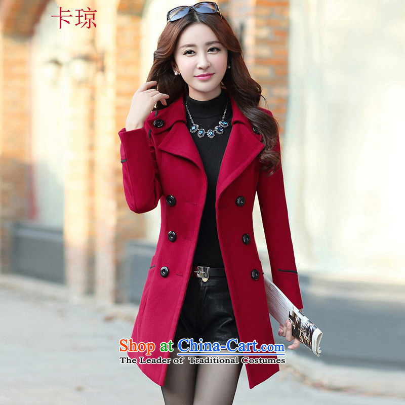 Cachon�15 autumn and winter new Korean women in long hair? jacket female suits for large wine red燤