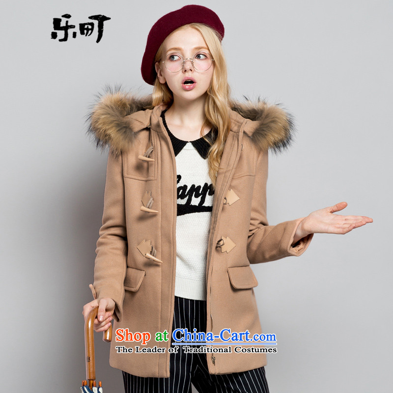 Lok-machi 2015 Autumn new gross coats in female long?)? sub-jacket with cap shirt autumn and winter female warm clothes and colorS/155