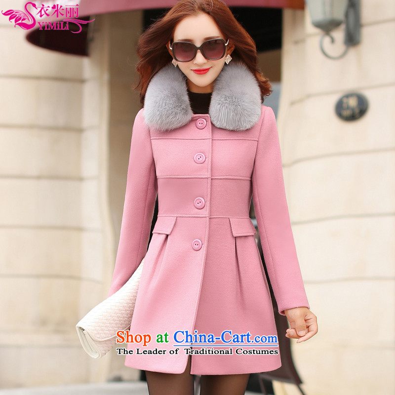 Yi Millies 2015 Fall_Winter Collections new Korean Sau San video gross slender a wool coat 639--6607 skin toner聽M