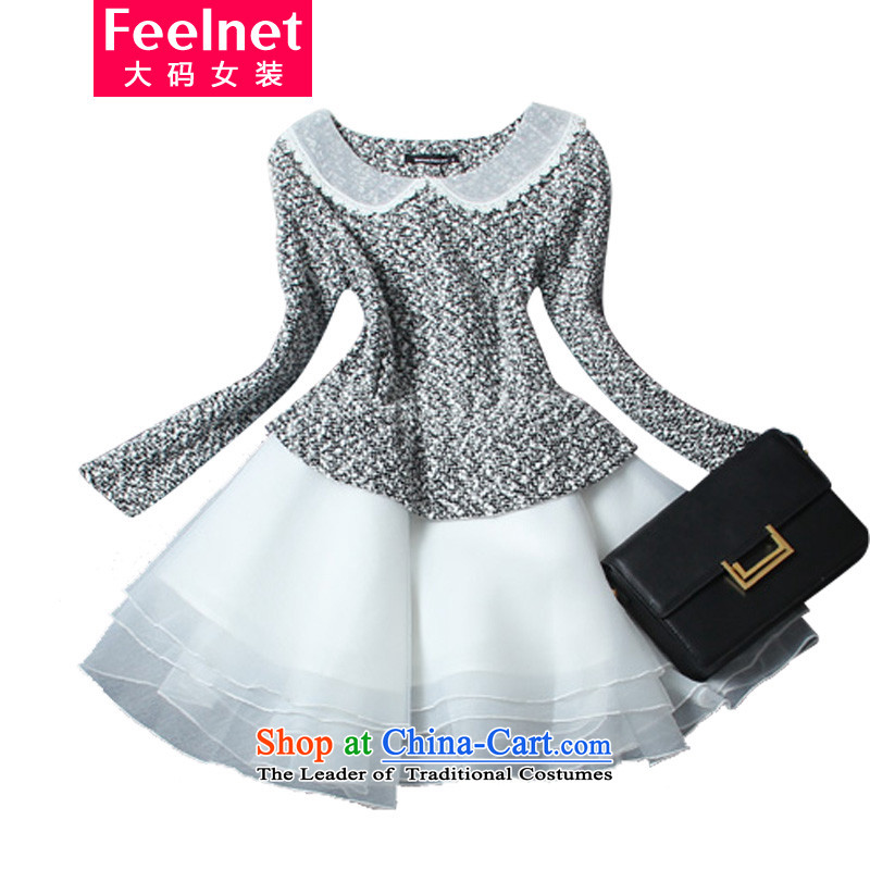 The Korean version of the fertilizers feelnet xl women 2015 Fall/Winter Collections dresses thick mm increase the yarn video thin long-sleeved bon bon skirt 127A large black 6XL